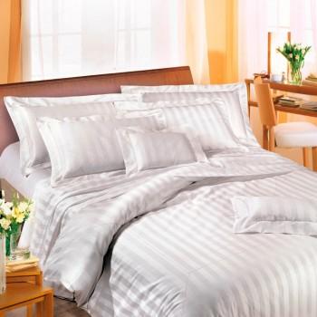 Duvet cover, flat sheet, pillow cases in sateen stripe, plain under sheet