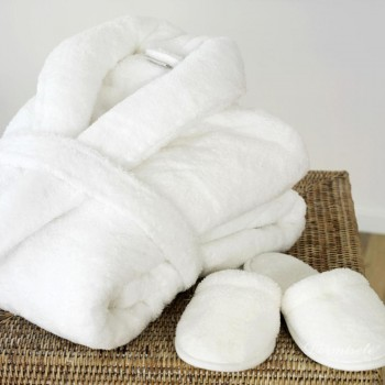 Bath robe  and slippers  in terry soft cotton