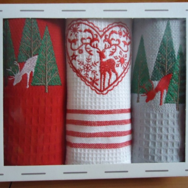 Christmas waffle kitchen towels with embroidery in a gift box