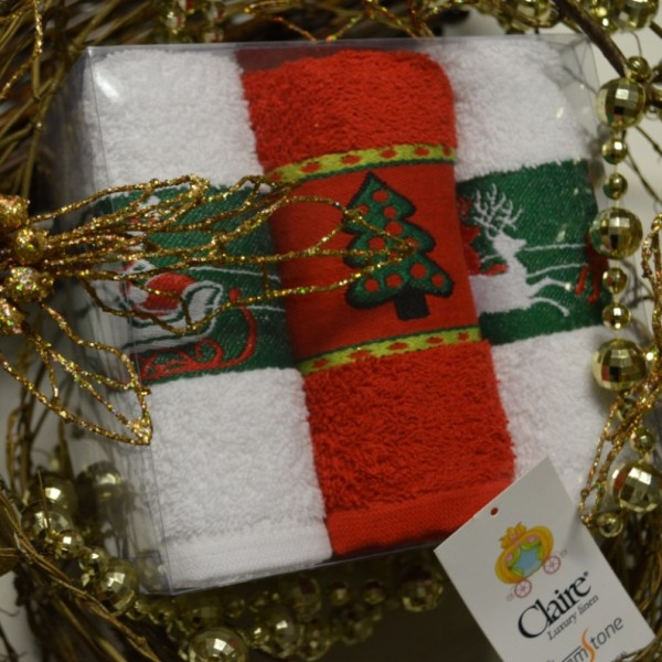 Christmas terry kitchen towels with jacquard border in a gift box