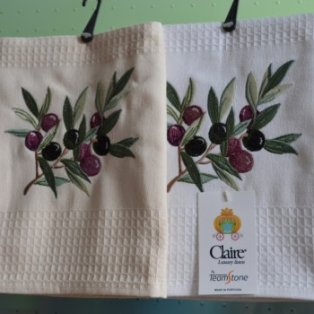 Waffle kitchen towels embroidered
