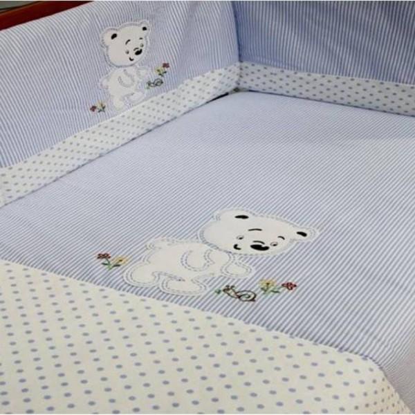 Conjunto de cama ou berço com resguardo de grades, capa de édredon e lençóis