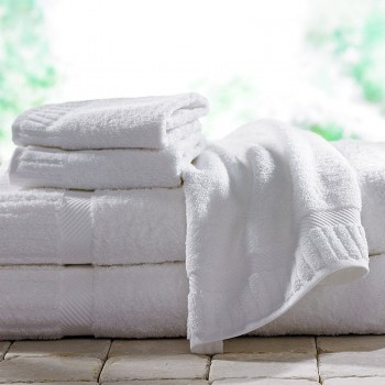 Bath Towels with jacquard border in white terry cotton