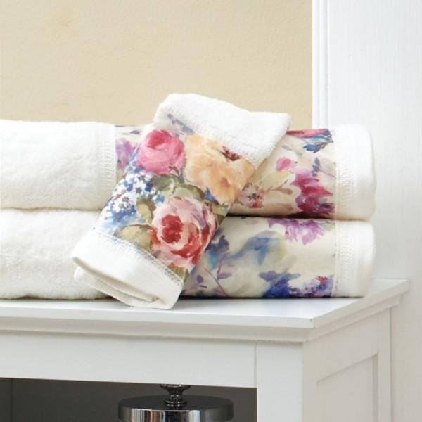 Toallas de baño en rizo 100% algodón con cenefa decorativa estampada. Toque y acabado velour. Varios tamaños y colores.