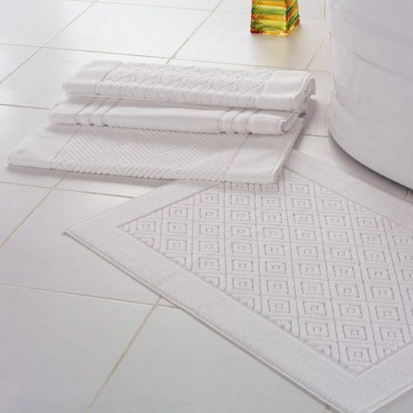 Tapetes de banho jacquard em felpo branco 100% algodão